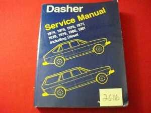 VINTAGE 1981 VOLKSWAGEN DASHER SERVICE MANUAL 1974 THRU 1981 INC. DIESEL ENGINES