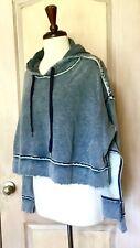 Free People Sweatshirt Hood Crop Hi Lo Oversized Raw Edge Blue Gray L NEW