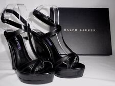 NEW RALPH LAUREN Ladies ATARA Black Leather Wedge Sandals Shoes UK 4.5 EU 37