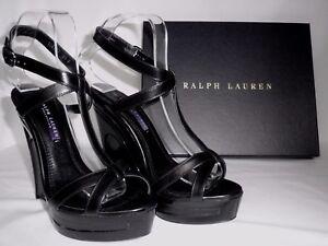 NEW RALPH LAUREN Ladies ATARA Black Leather Wedge Sandals Shoes UK 4 EU 37 £522