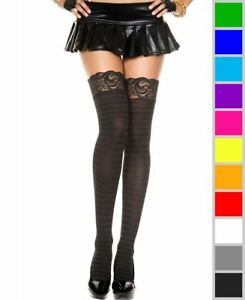New Music Legs 4740 Opaque Striped Lace Top Thigh High Stockings
