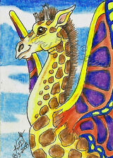 Giraffe Butterfly ACEO PRINT EBSQ Kim Loberg mini Bug fantasy Animal Art Insect