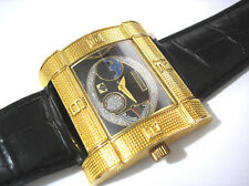 Ice Star Hip Hop Big Case Leather Band Men's Watch Gold Item 3350