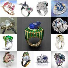 925 Silver Pearl Blue Topaz Bird Animal Fashion Women Alloy Ring Size 6-10