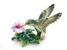 Hummingbird and Flower Bejeweled Trinket Box