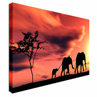 Elephants African Sunset Modern Landscape Canvas Wall Art Print Large + Any Size