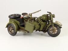 Blechmodell Militär Armee Army Motorrad Bike mit Beiwagen AntikStil