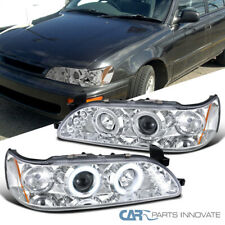 For 93-97 Toyota Corolla Clear LED Halo Projector Headlights Head Lamps Pair