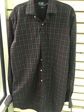 POLO Ralph Lauren Men's Plaid Button Front Dress Shirt Green Burgandy SZ LT tall