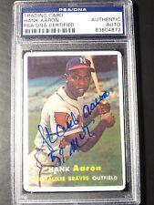 "HANK AARON SIGNED INSCRIBED ""57 MVP"" AUTO PSA/DNA CARD~1957 TOPPS REPRINT RARE"