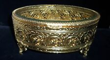 Antique Victorian Gold & Beveled Glass Footed Jewelry Case Casket Perfect