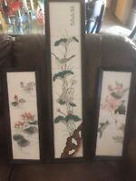 Vintage Framed Japanese Bird & Floral Tile Art by H. Kanaya