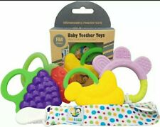Baby Teether Toys & Clip Set of 4 Banana, Grapes, Strawberry & Ring IKE & LEO