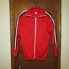 Vintage 1970s Red Zip-up Track Jacket, Unisex, Activewear, Striped Sleeves