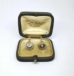 Antique 18kt Gold Hallmarked Earrings with Old Cut Diamonds and Enamel with box