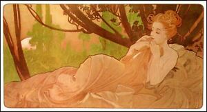 A Good Sleep Maiden  by Alfons Maria Mucha Counted Cross Stitch Pattern