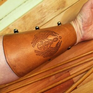 Archery Arm Guard Personalized Leather , Bracer Raven Mirrored