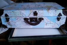 Decoupage with maps old suitcase. Decoration.Storage. Present. Funky.