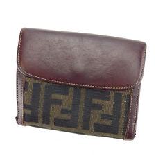 Fendi Wallet Purse Folding wallet Zucca Brown Woman unisex Authentic Used E1064