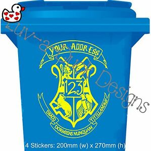 Personalised Harry Potter Hogwarts Style Wheelie Bin House Number Sticker x 4