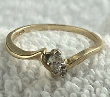 Round Cut Secondary, Engagement, Size 7 14k Gold Ring, Marquis Cut Main Diamond,