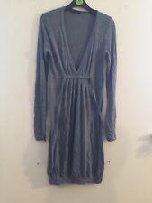 Jane Norman ladies size Small gray long sleeve viscose mix jumper dress