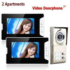 7inch TFT 2 Apartments Video Door Phone Intercom System HD Camera Doorbell