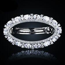 USA BARRETTE use Swarovski Crystal Hair Clip Hairpin Bridal Wedding Silver CZ 5
