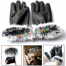 Lady Winter Gift Warm Rabbit Fur&PU Leather Five Finger Gloves