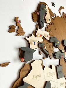 "3D Wooden Wall World Map M sz(63"" x 37"") with Country Names with Brown+Dark Grey"