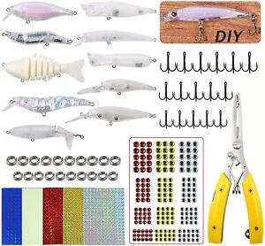 Unpainted Blank Fishing Lures Crankbait with DIY Eyes Hooks Split Rings 259/280