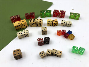 35 Vintage Dice Bakelite Celluloid Wood Stone Bovine Glass Green Red Yellow