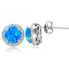 Sterling Silver 1ct Created Blue Opal & White Topaz Halo Stud Earrings