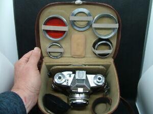 Vintage Voigtlander Camera Outfit in Case. Bessamatic, 35mm, Filters, Hoods.