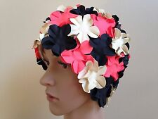 Aquapro (Adult) Black/Pink/White Full Floral Vintage/Retro Swim/Bathing Cap