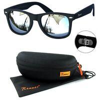 Rennec Sonnenbrille Nerd Retro Schwarz Matt Silber Verspiegelt 12X Brillenbox