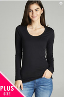 PLUS Women Long Sleeve Round Crew Neck Tee Shirt T-Shirt Active Basic1XL,2XL,3XL