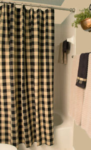 """Buffalo Check Black and Tan 72"""" x 72"""" Cotton Shower Curtain by Primitive Home"""