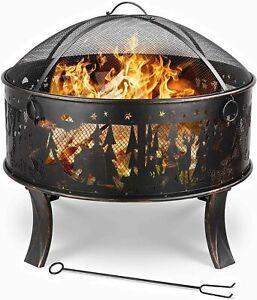 Feuerstelle für den Garten Feuerschale Feuerkorb mit Funkenschutz FirePit Bronze