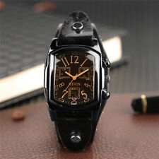 KEVIN Fashion Men Leather Band Vintage Quartz Wrist Watch Rectangle Dial Gifts