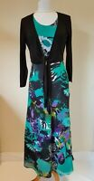 Tommy & Kate Green Floral Women's Maxi Dress & Black Shrug Size 12 BNWT