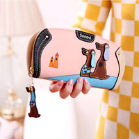 Women Fashion Cute Cartoon Dogs Sweet Puppy Print Faux Leather Wallets Purses