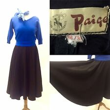 "Vintage Original 1950s Black Rockabilly Skirt By Paige Size 8 Full Skirt 29"""