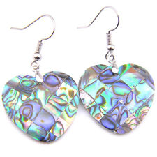 Heart Tropical Natural Handmade Abalone Shell Gems Silver Dangle Hook Earrings
