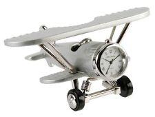 NEW Collectors Novelty Miniature Clock Quartz Gift Silver Bi Plane Aeroplane