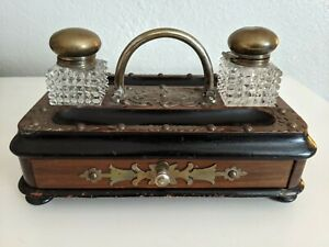 Antique Dual wooden brass inkwell set  writing dual  desktop rare 1800's