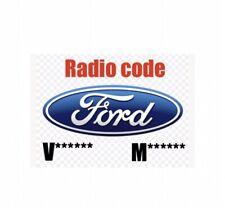Radio Code Ford M/V C-Max Cougar Fiesta Focus Galaxy Ka Mondeo Puma SMax Transit