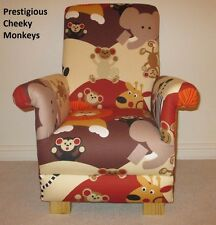 Prestigious Cheeky Monkeys Fabric Child's Chair Animals Lions Kids Armchair New