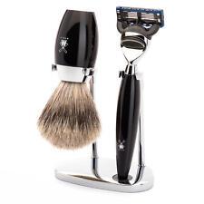 Muhle KOSMO Black Fusion Razor & Fine Badger Hair Shaving Brush Shaving Set