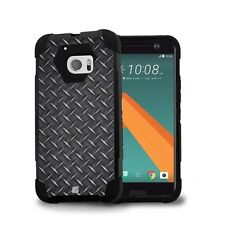 Beyond Cell Shell Case Hyber 2 For HTC 10   One M10 Black Diamond Plate Steel